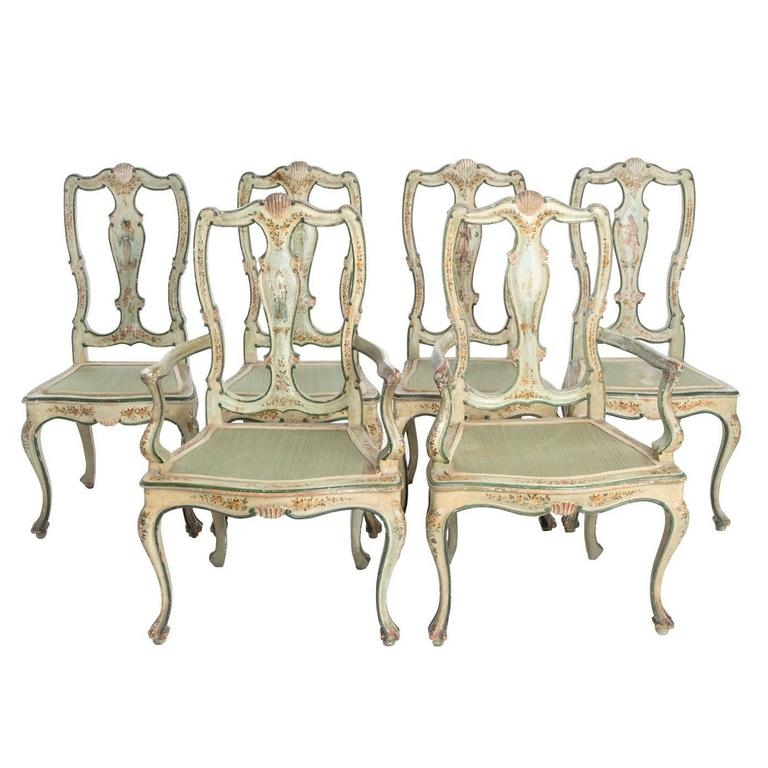 set of painted queen anne style dining chairs for sale at 1stdibs