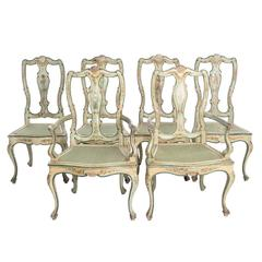 Set of Painted, Queen Anne Style Dining Chairs