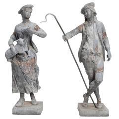 Shepherd and Shepherdess Garden Statues