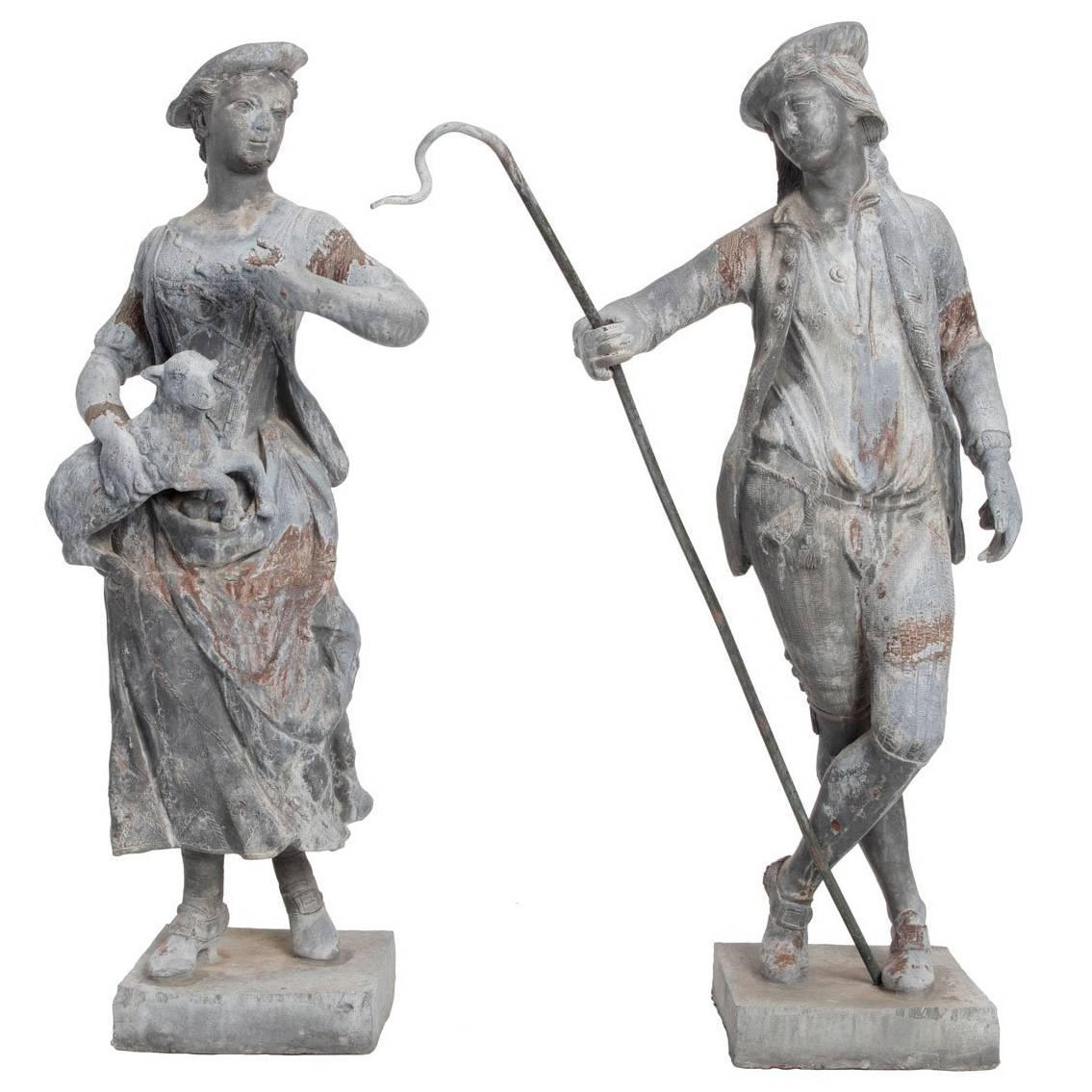 Shepherd and shepherdess garden statues for sale at 1stdibs for Lawn ornaments for sale