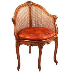 Louis XV Walnut Caned Armchair