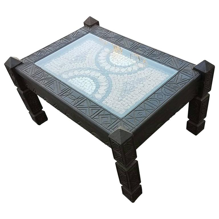 Moroccan Cedar Wood Coffee Table Marble Top For Sale At 1stdibs