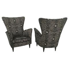 Pair of Black Patterned Armchairs Ascribable to G.Ponti for Hotel Bristol, 1950s
