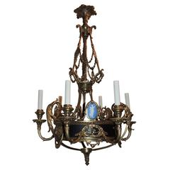 Wonderful French Gilt Patina Bronze Wedgewood Plaque Crystal Chandelier Fixture