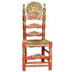 Single Andalusian Antique Polychromed Rush Seat Chair