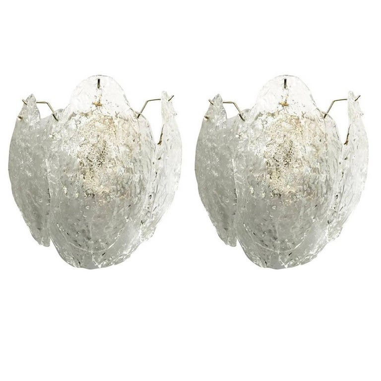 Pair of Italian Murano Glass Leaves Sconces