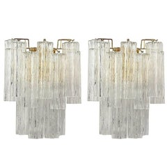 Pair of Italian Murano Tronchi Glass Sconces