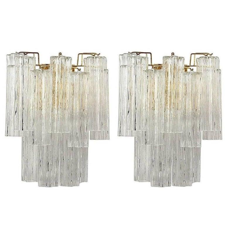 Pair of Italian Murano Tronchi Glass Sconces