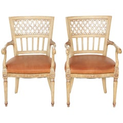 Pair of Painted and Parcel Silvergilt Italian Armchairs, circa 1920s