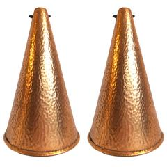 Hammered Copper Pendant Lights, a pair, Denmark.