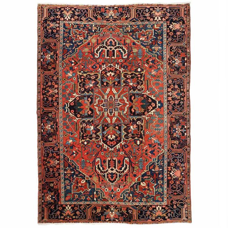 Vibrant Authentic Semi-Antique Heriz Rug, Circa 1920-1930