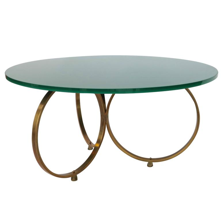 custom brass coffee table with reverse painted glass top for sale