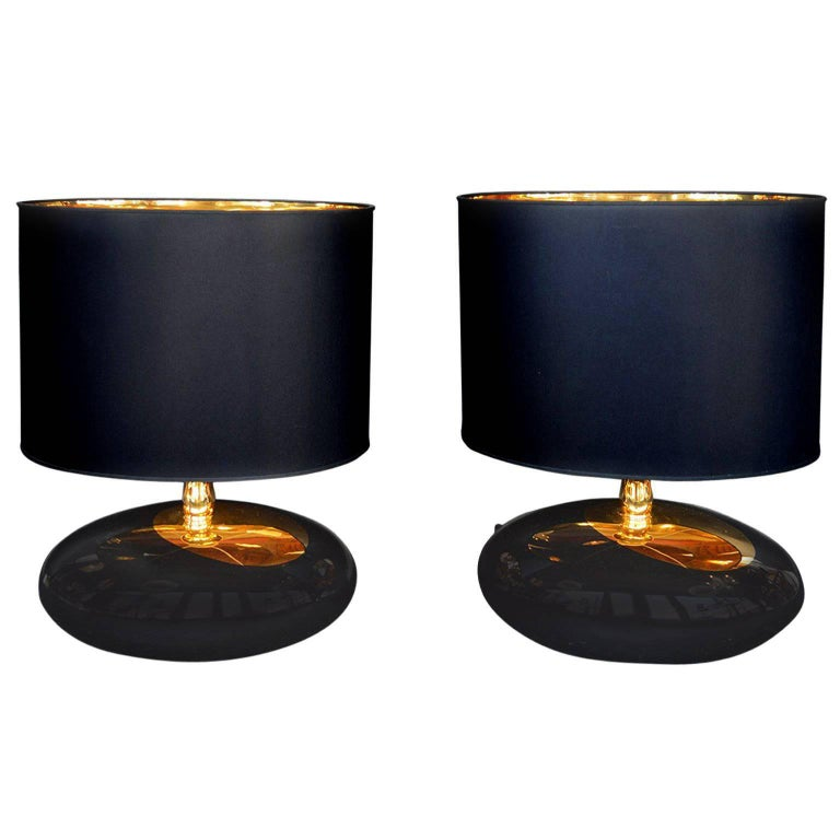 Pair of Italian Pebble Lamps with Gold For Sale