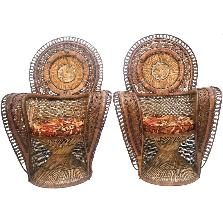 Exotic Wicker Throne Peacock Chairs Very Rare, Medallion Back, Hollywood  Glam For Sale