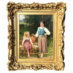 """Francois-Alfred Delobbe Oil on Canvas """"The Little Neighbour"""", French, 1835-1920"""