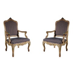 Set of Two, Antique Venetian Armchairs