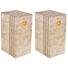 Pair of Italian Travertine Table Lamps by Sormani