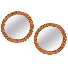 Pair of Circular Rope Mirror by Adrien Audoux and Frida Minet