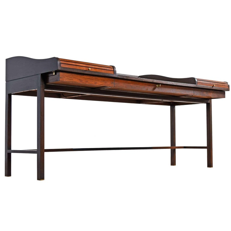 Edward Wormley for Dunbar Executive Rosewood Roll-Top Desk For Sale