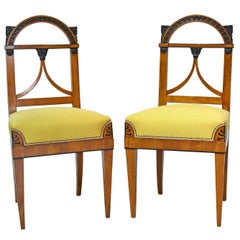 Pair of North German Neoclassical Empire Cherry Wood Side Chairs, circa 1815