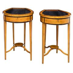 Pair of Edwardian Satinwood, Parcel-Ebonized Curio Tables, circa 1900