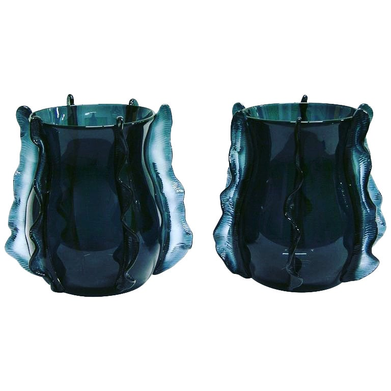 Formia 2009 Italian Pair of Organic Avio Blue Murano Glass Modern Vases