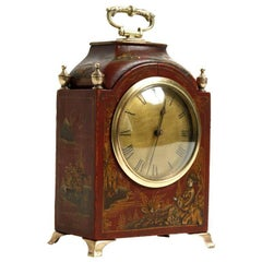 Red Chinoiserie Decorated Clock, Mid-20th Century