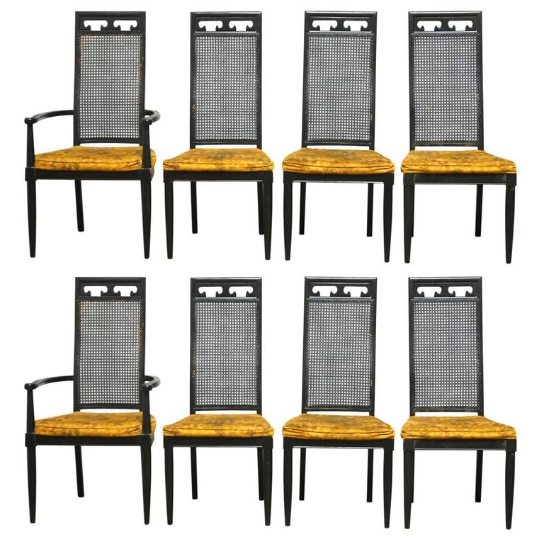 Set Of Eight Asian Style Cane Black Lacquer Dining Chairs