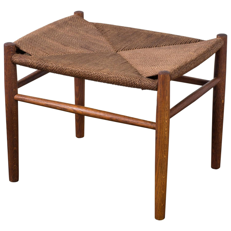 vintage mid century hans wegner stool or ottoman for sale. Black Bedroom Furniture Sets. Home Design Ideas