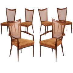 Set of Six Caned Back Walnut Dining Chairs by Melchiorre Bega