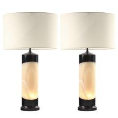 Illuminated Onyx and Obsidian Lamps