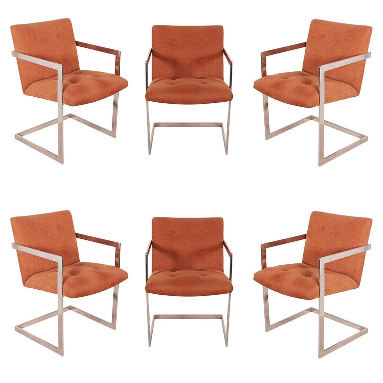 Chrome Dining Room Chairs: Set Of Six Dining Room Chairs On Chrome Cantilever Bases