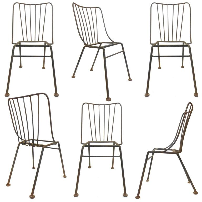 Set of Six Mid-Century Wrought Iron Outdoor Chairs