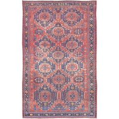 Large Caucasian Sumack Carpet with Geometric Pattern
