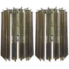 Pair of Italian Murano Smoky Glass Crystals Sconces by Venini
