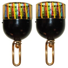 Pair of Italian Murano Glass Sconces by Leucos