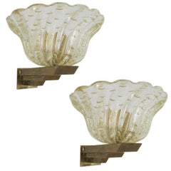 Pair of Italian Murano Pulegoso Gold Glass Sconces by Barovier e Toso