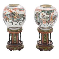 Pair of 19th Century Chinese Famille Verte Lanterns