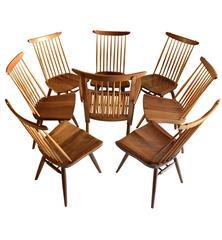 Eight George Nakashima Walnut Dining Chairs 1963