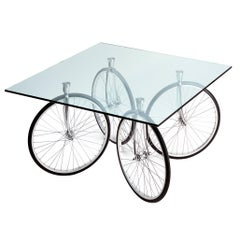 Tour Table with Glass Top Designed by Gae Aulenti for Fontana Arte