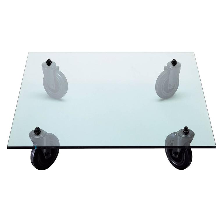 Tavolo Con Ruote Low Table with Glass Top by Gae Aulenti for Fontana Arte