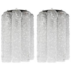 Pair of Italian Murano Glass Tube Sconces by Venini