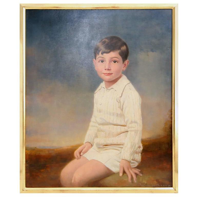 1929 Three Quarter Portrait of a Seated Young Boy by Joshua Smith R.B.A.