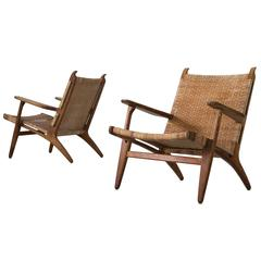 Hans Wegner Set of Early Edition CH27 Lounge Chairs in Oak and Woven Cane