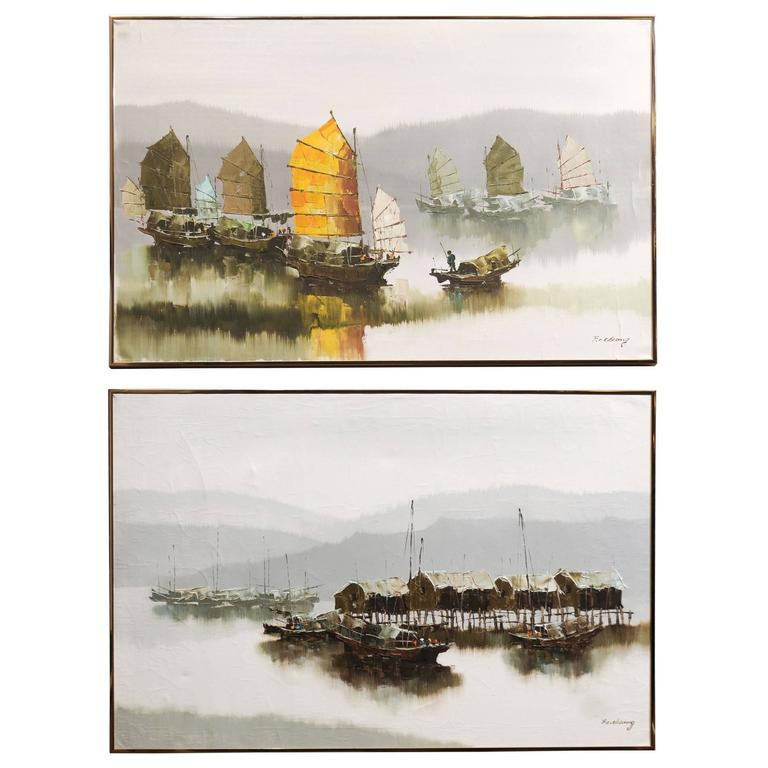 Pair of Hong Kong Harbor Oil Paintings in Neutral Colors by F.E. Cheang