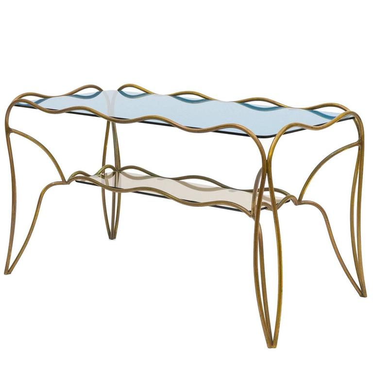 Unique Italian Brass and Colored Glass Cocktail Table, 1950s 1
