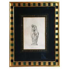 Antique Framed Engraving of Cupid and Psyche