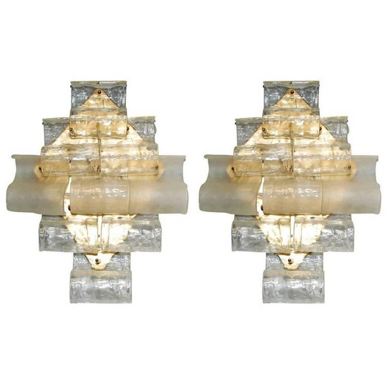 Italian Murano Waves Glass Sconces by Mazzega