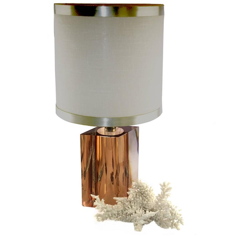 1970 Resine Lamp with Wheat Inclusions by Pierre Giraudon