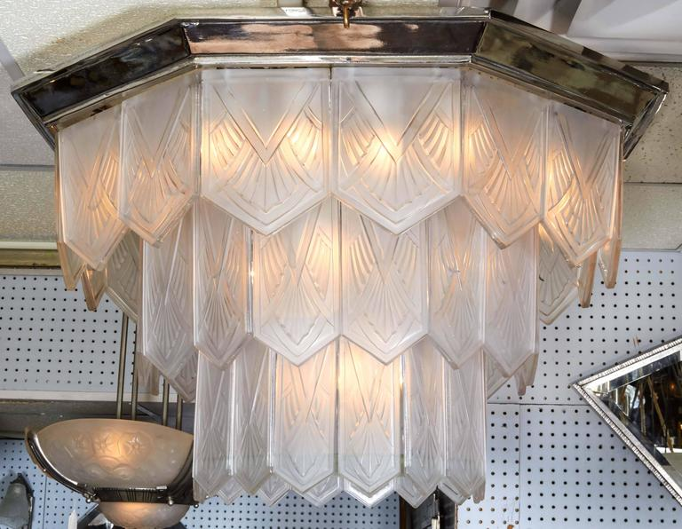Palatial French Art Deco Frosted Art Glass Octagonal Chandelier, Signed Sabino 2